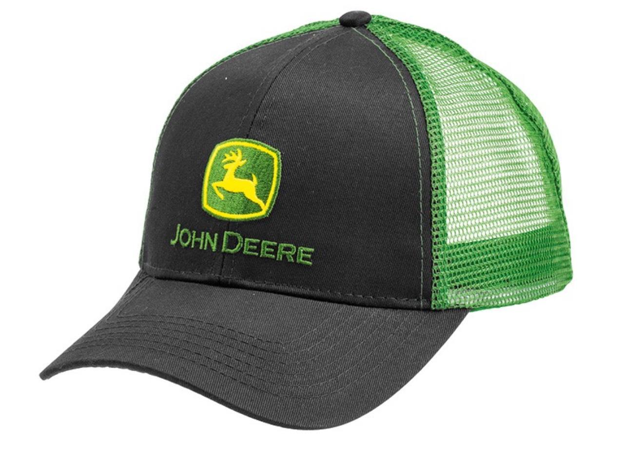 """John Deere """"trucker"""" kasket sort, grøn net"""
